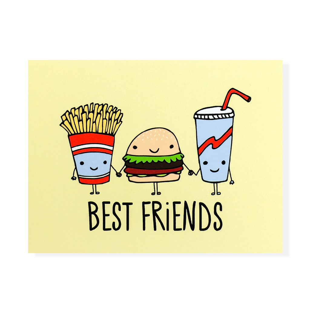 Burger And Fries Bff Card Fun And Roses